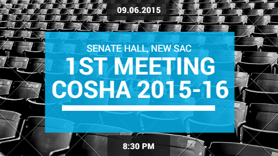 The 1st Meeting of the COSHA(2015-16) has been scheduled for 8:30 PM onTuesday, 9thJune, 2015 in the Senate Hall, New SAC. For easy viewing, see the supporting documents and agenda […]