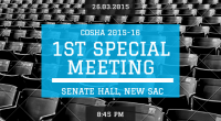 The 1st (Special) Meeting of the COSHA (2015-16) has been scheduled for 8:45 PM on Thursday, 26th March, 2015 in the Senate Hall, New SAC.For easy viewing, see the supporting […]